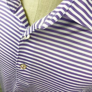 Peter Millar Purple white striped golf polo shirt